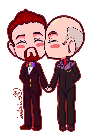 Chibi Drawing Alexander And Jean-Luc Smooch.png